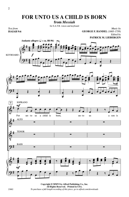 For Unto Us A Child Is Born (from Messiah) Sheet Music By George Frideric Handel - Sheet Music Plus