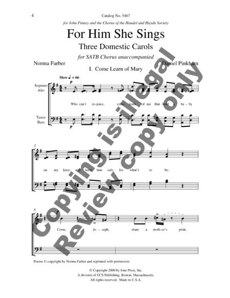 For Him She Sings: Three Domestic Carols