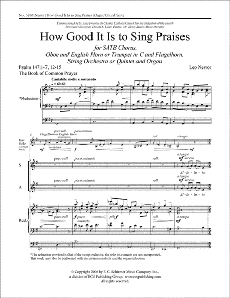 How Good It Is to Sing Praises (Choral Score)