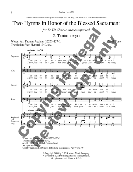 Two Hymns in Honor of the Blessed Sacrament: O Salutaris hostia- Tantum Ergo