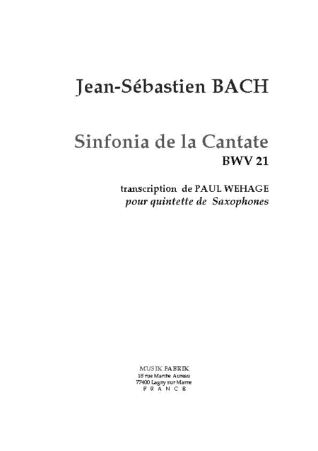 Sinfonia Cantate 21