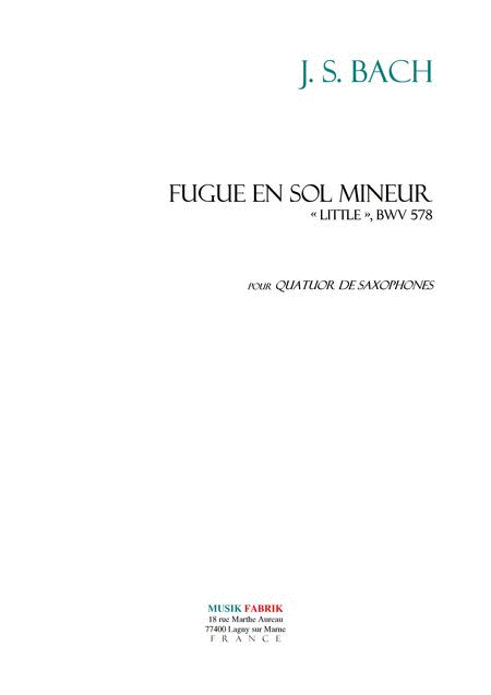 Fugue in G minor BWV 578