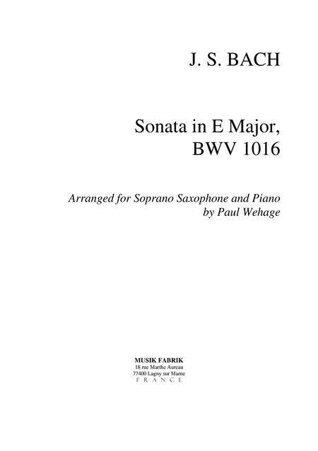 Sonata E Major BWV 1016