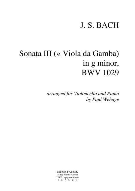 Sonata (Viola da Gamba) III g minor BWV 1029