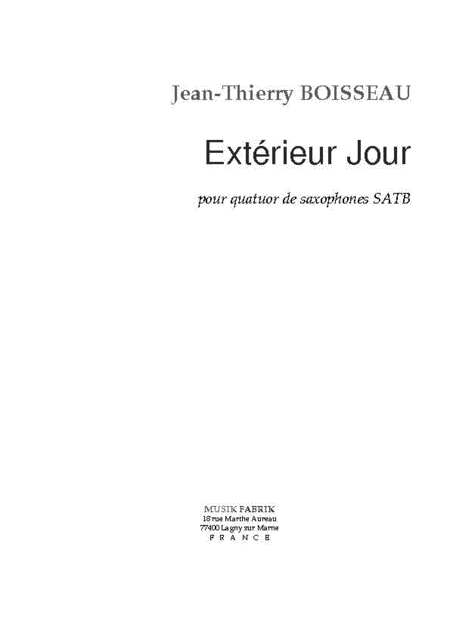 exterieur jour sheet music by jean thierry boisseau