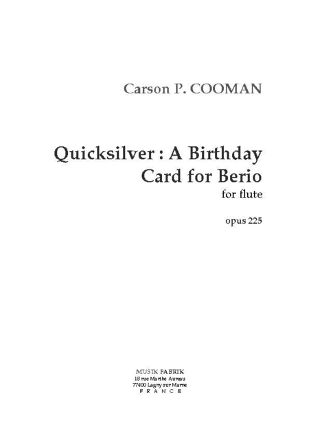 Quicksilver: A Birthday Card for Berio