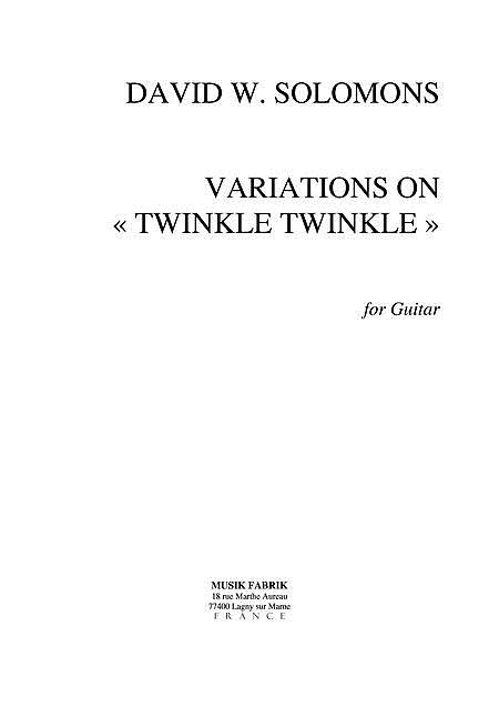 Variations on Twinkle, Twinkle