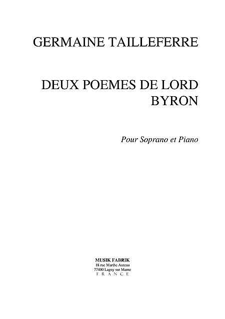 Deux Poemes de Lord Byron
