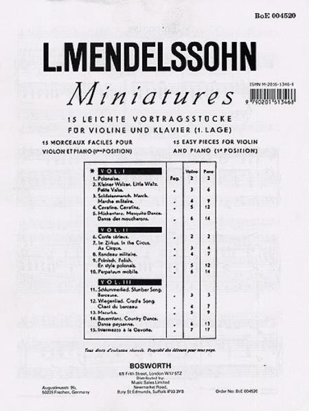 Mendelssohn: 15 Miniatures For Violin And Piano Vol.1