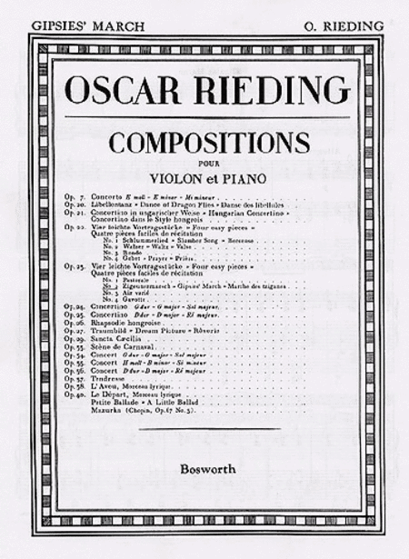 Oskar Rieding: Gypsies' March Op.23 No.2 Violin And Piano