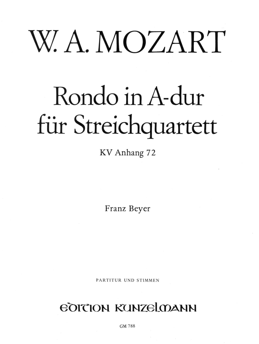 Rondo in A Major K464a(Anh.72)