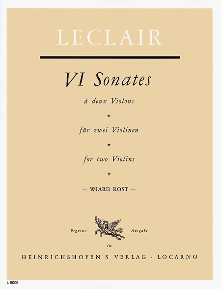 Six Sonatas - for 2 Violins, Opus 3